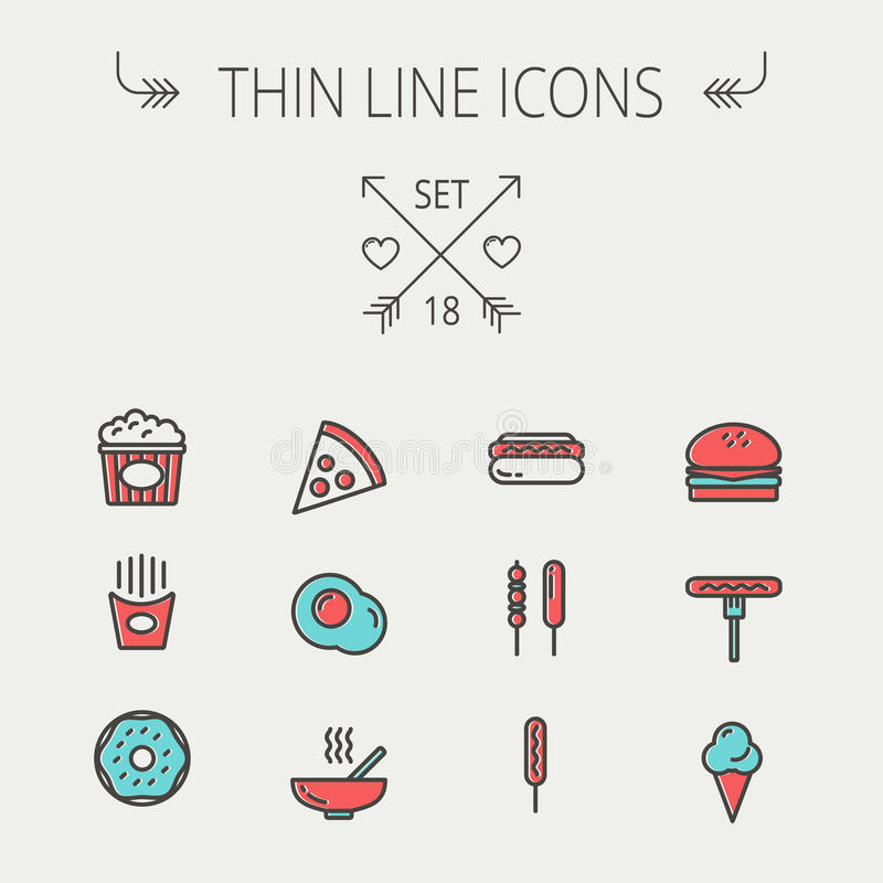 Ligne mince ensemble de nourriture et de boissons d'icône illustration de vecteur