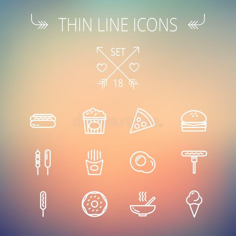 Ligne mince ensemble de nourriture et de boissons d'icône illustration stock