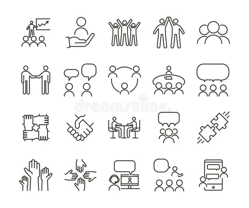 Ligne mince ensemble de vecteur d'illustration d'icône Travail d'équipe et les gens agissant l'un sur l'autre, communiquant et tr illustration libre de droits