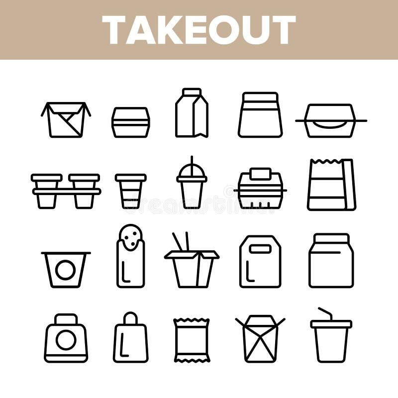 Ligne mince ensemble de vecteur de nourriture à emporter d'icônes illustration stock