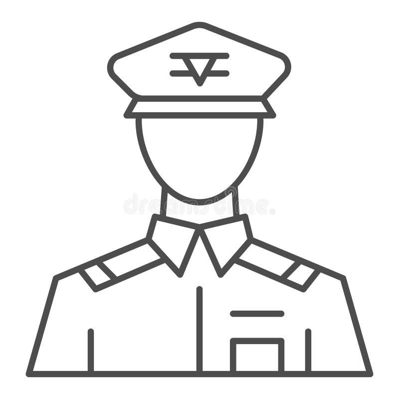 Ligne mince générale icône Le commandant dirigent l'illustration d'isolement sur le blanc Conception de style d'ensemble de vétér illustration libre de droits