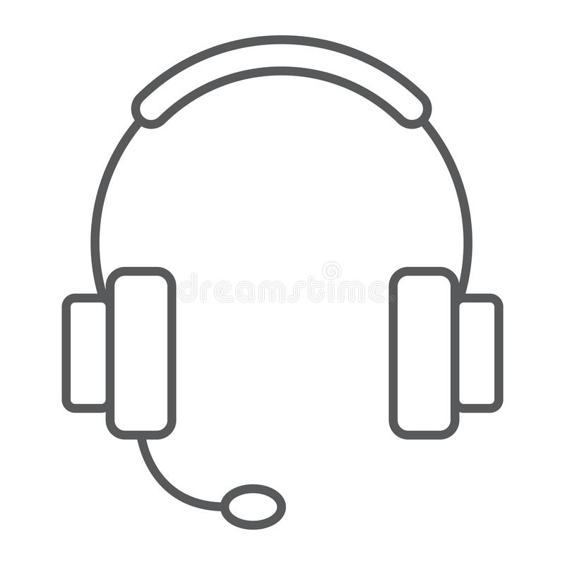 Ligne mince icône, commerce électronique de support technique illustration libre de droits