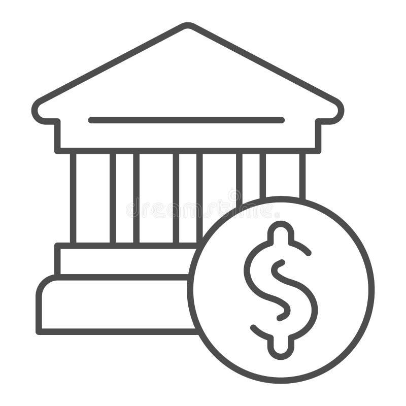 Ligne mince icône d'édifice bancaire Illustration de vecteur de banque et de dollar d'isolement sur le blanc Conception de style  illustration de vecteur