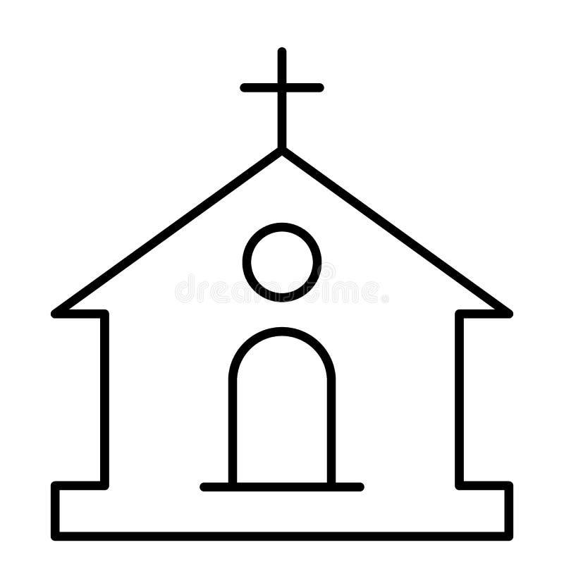 Ligne mince icône d'église catholique Illustration de vecteur de bâtiment d'isolement sur le blanc Conception de style d'ensemble illustration stock