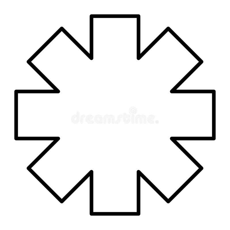 Ligne mince icône d'étoile de secours Illustration de vecteur de signe d'ambulance d'isolement sur le blanc Conception médicale d illustration de vecteur