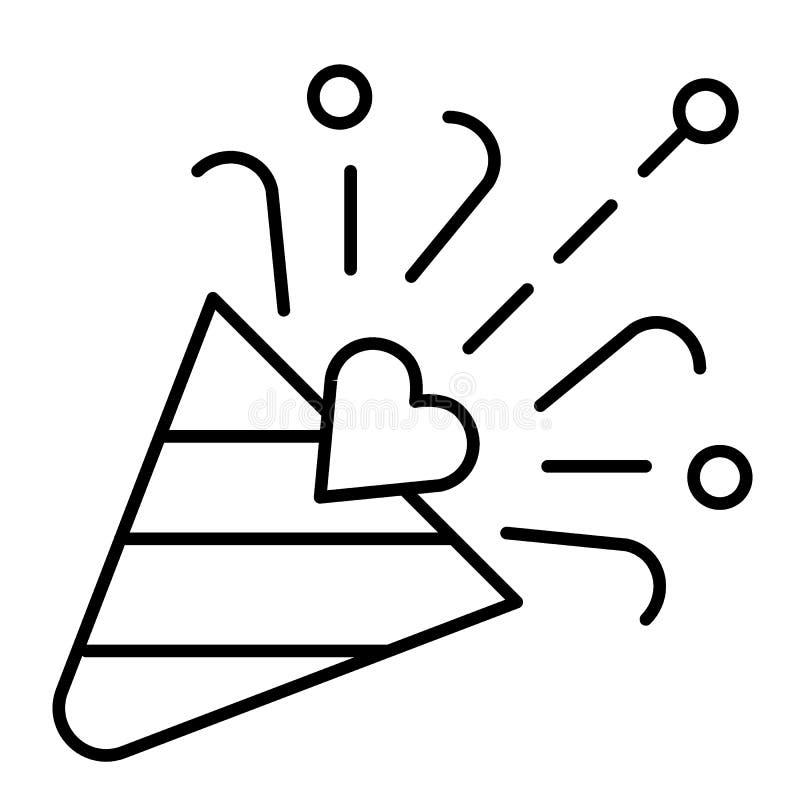 Ligne mince icône d'aileron Illustration de vecteur de bouton-pression de confettis d'isolement sur le blanc Conception de style  illustration stock