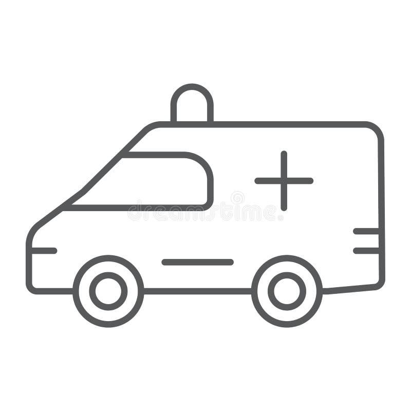 Ligne mince icône d'ambulance, médical et voiture, signe de secours, graphiques de vecteur, un modèle linéaire sur un fond blanc illustration de vecteur