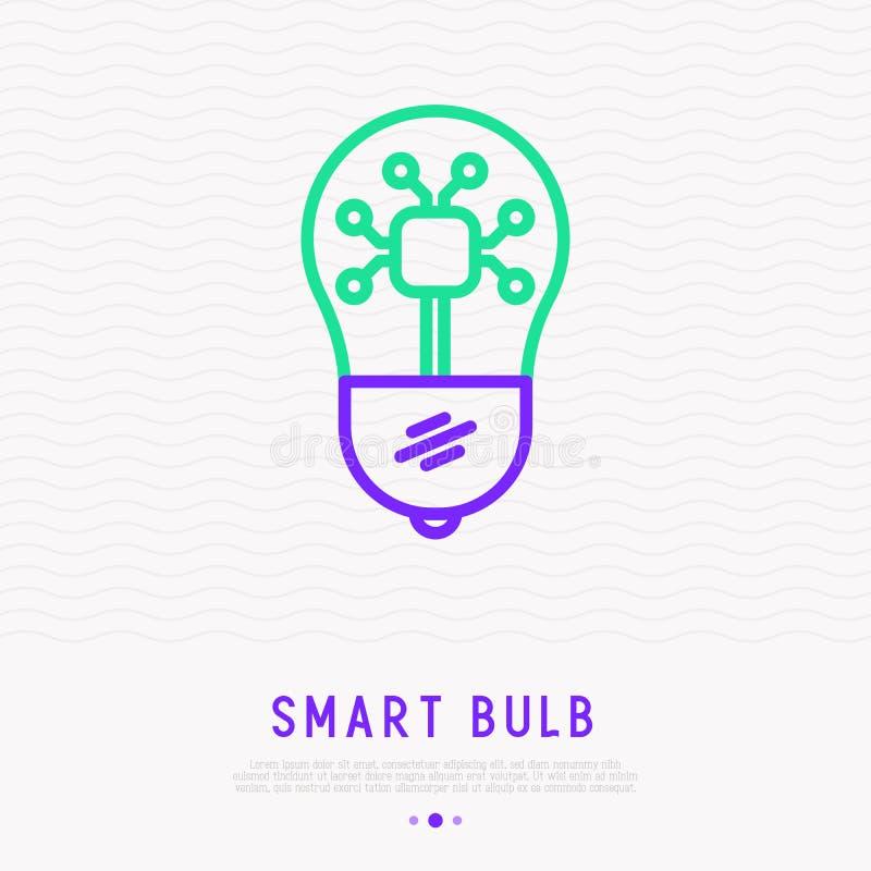 Ligne mince icône d'ampoule futée Illustration de vecteur illustration stock