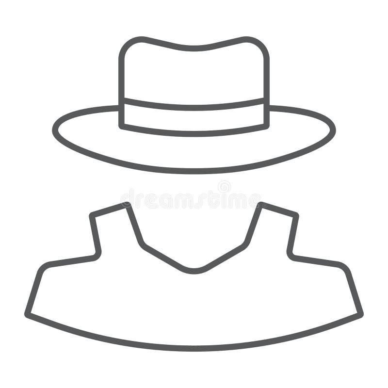 Ligne mince icône d'anonymat, révélateur et privé illustration de vecteur