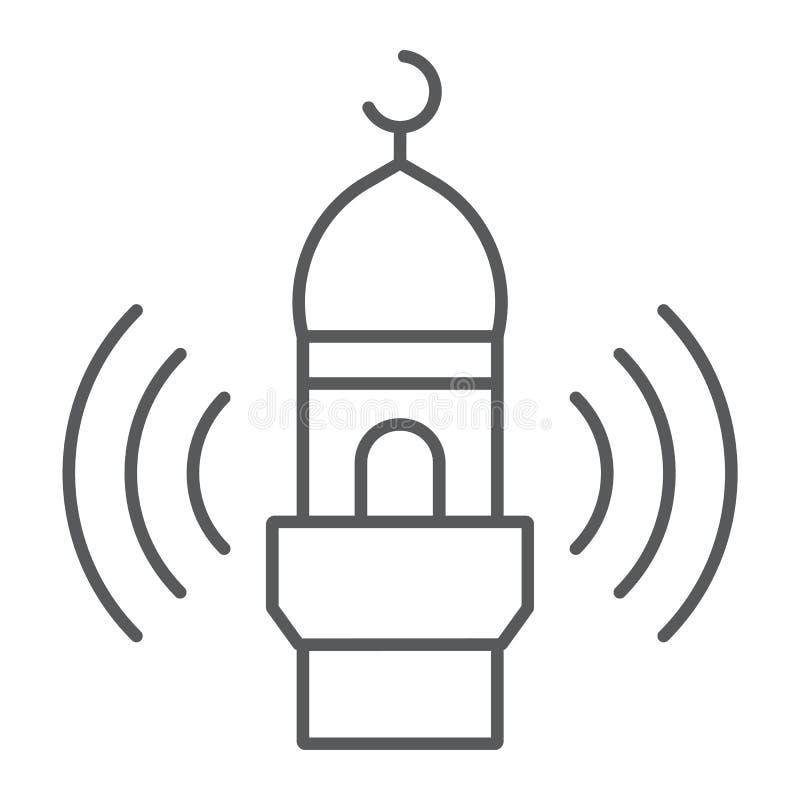 Ligne mince icône d'appel d'Adhan, religion et Islam, signe de mosquée, graphiques de vecteur, un modèle linéaire sur un fond bla illustration libre de droits