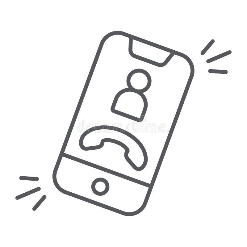 Ligne mince icône d'appel téléphonique, téléphone et smartphone, signe d'appel d'arrivée, graphiques de vecteur, un modèle linéai illustration libre de droits