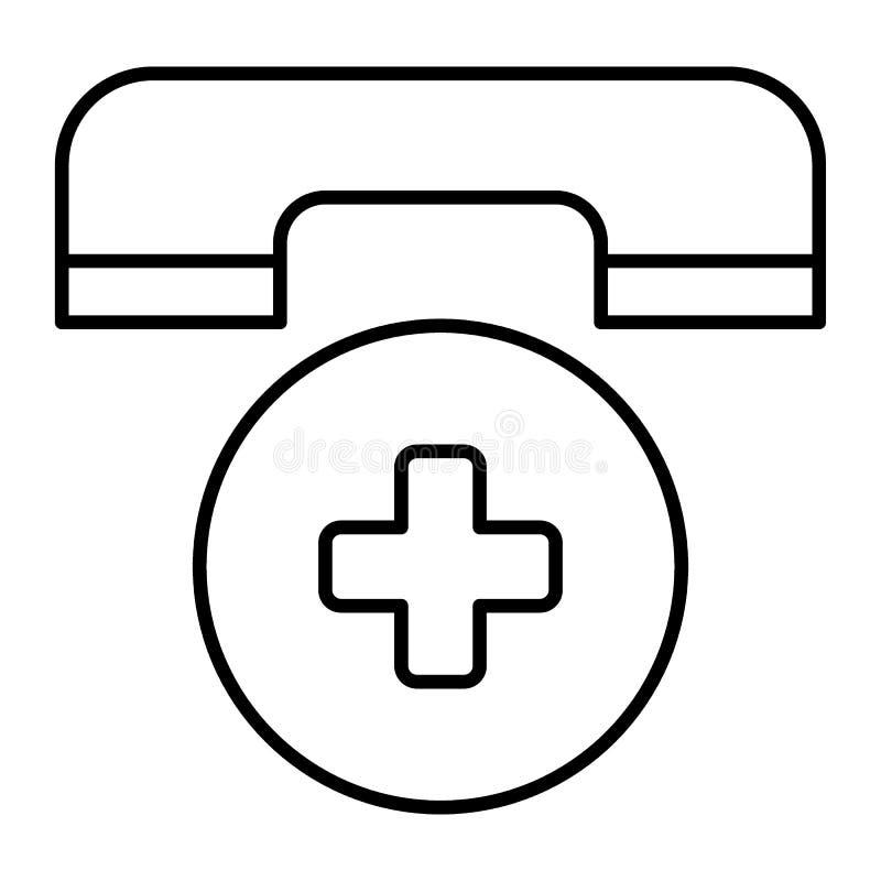 Ligne mince icône d'appel d'urgence Illustration de vecteur de symbole de téléphone d'ambulance d'isolement sur le blanc Téléphon illustration libre de droits