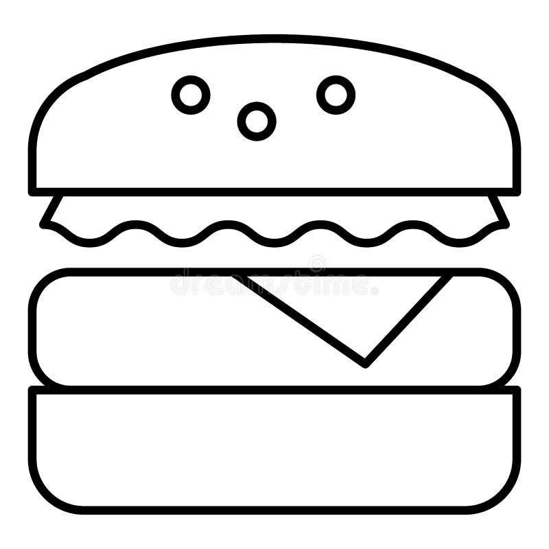 Ligne mince icône d'hamburger Illustration de vecteur d'aliments de préparation rapide d'isolement sur le blanc Conception de sty illustration de vecteur