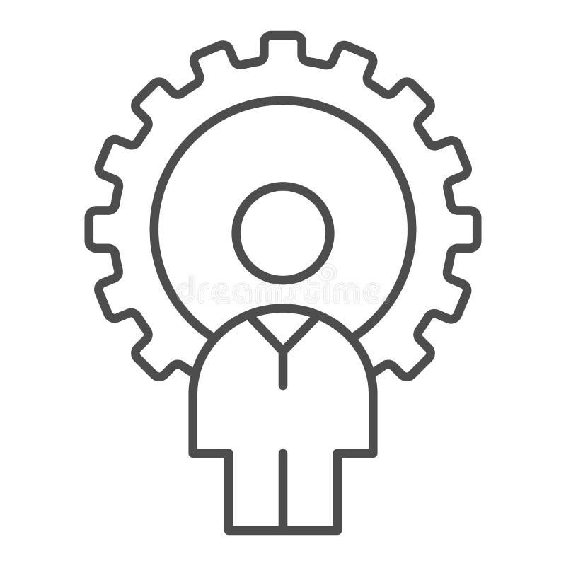 Ligne mince icône d'homme et de vitesse Illustration de vecteur de promoteur d'isolement sur le blanc Gogwheel et conception de s illustration libre de droits