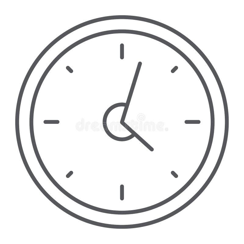 Ligne mince icône d'horloge, heure et temps, signe de montre de mur, graphiques de vecteur, un modèle linéaire sur un fond blanc illustration de vecteur
