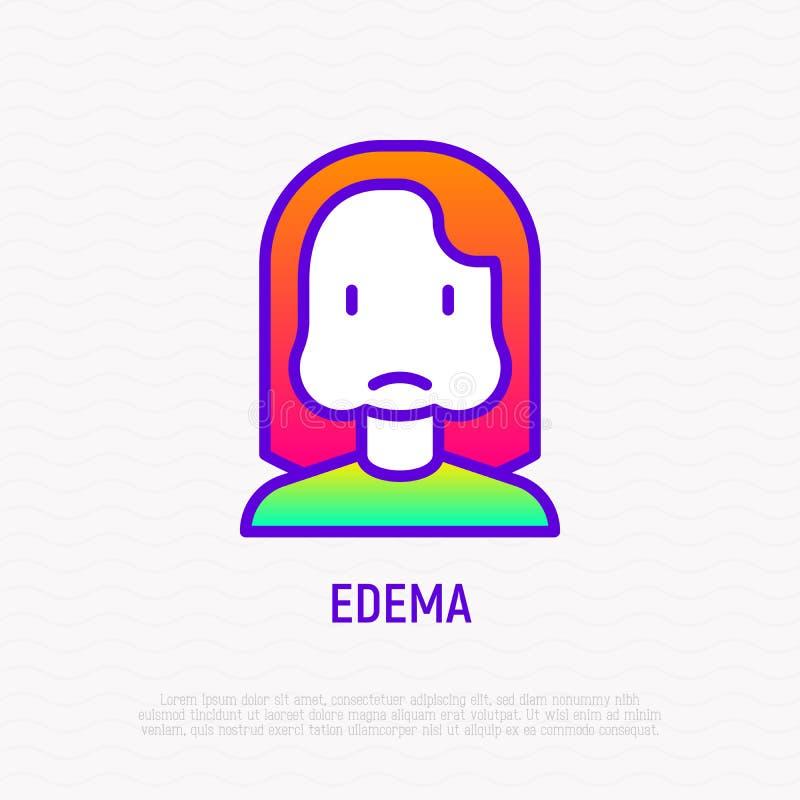Ligne mince icône d'oedème : femme avec les joues gonflées illustration stock