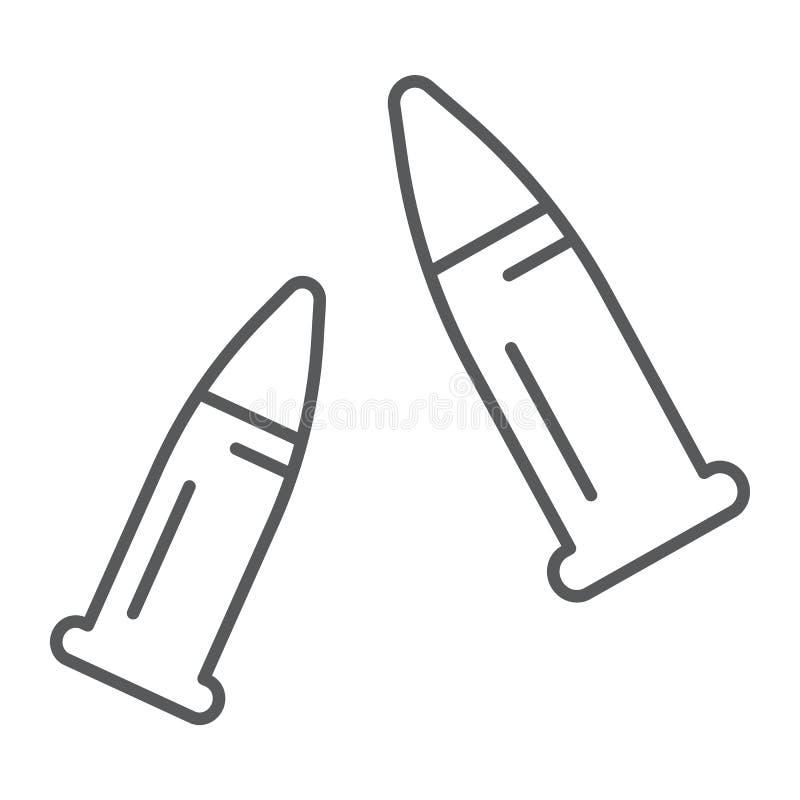 Ligne mince icône de balles, munitions et calibre, signe de munitions, graphiques de vecteur, un modèle linéaire sur un fond blan illustration libre de droits