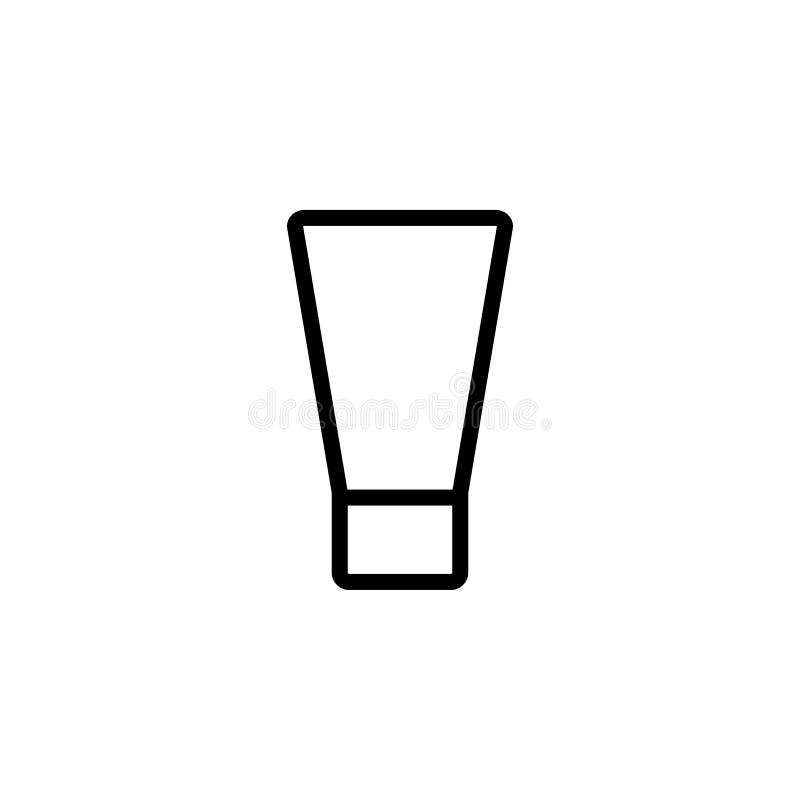 Ligne mince icône de bouteille crème de main illustration de vecteur