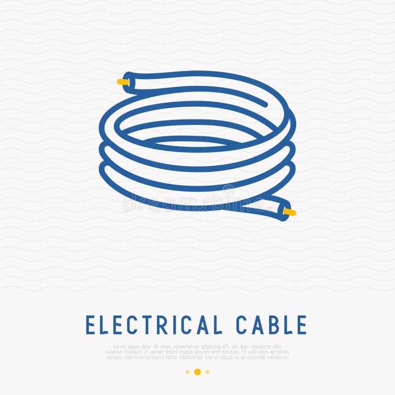 Ligne mince icône de câble électrique illustration libre de droits