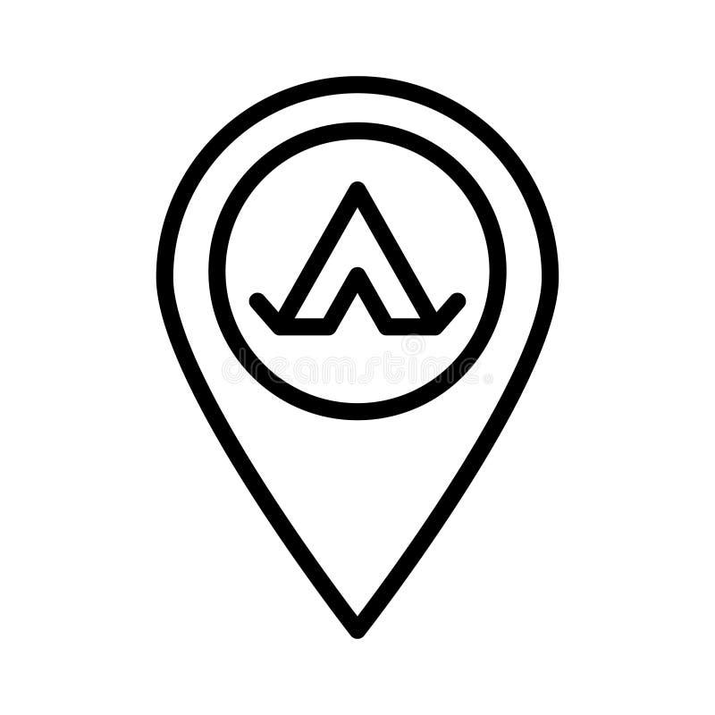 Ligne mince icône de camp de vecteur illustration de vecteur