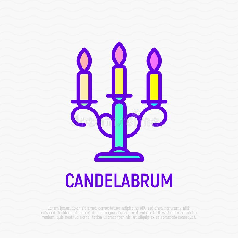 Ligne mince icône de candélabre illustration stock