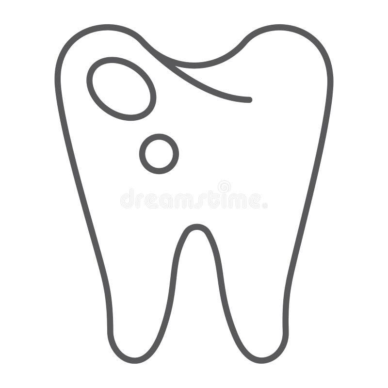 Ligne mince icône de carie, art dentaire et dents, signe en difficulté de dent, graphiques de vecteur, un modèle linéaire sur un  illustration de vecteur
