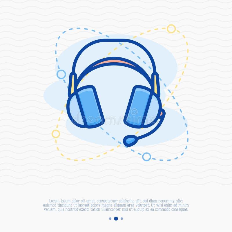 Ligne mince icône de casque Illustration moderne de vecteur illustration libre de droits