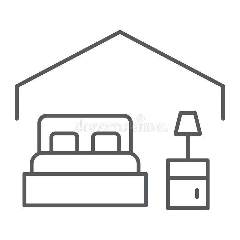 Ligne mince icône de chambre à coucher, hôtel et sommeil, signe de lit, graphiques de vecteur, un modèle linéaire sur un fond bla illustration de vecteur