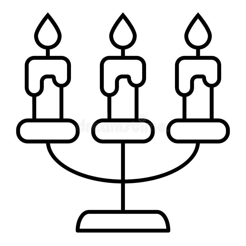 Ligne mince icône de chandelier Illustration de vecteur de candélabre d'isolement sur le blanc Bougies d'ensemble de conception d illustration stock
