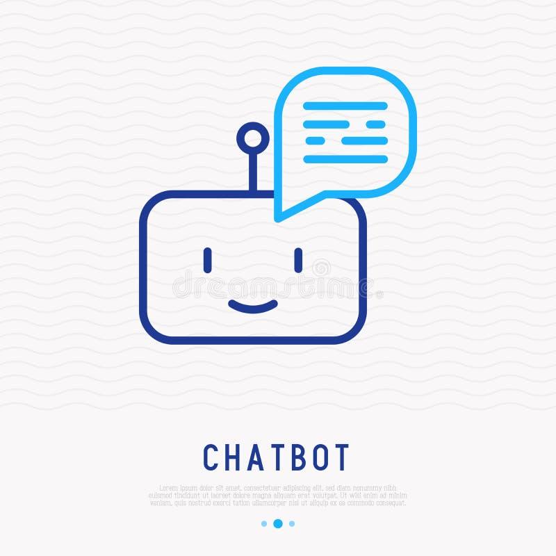 Ligne mince icône de Chatbot illustration de vecteur