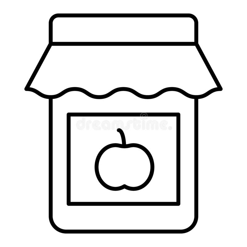 Ligne mince icône de confiture d'Apple Conservez l'illustration de vecteur d'isolement sur le blanc Conception de style d'ensembl illustration stock