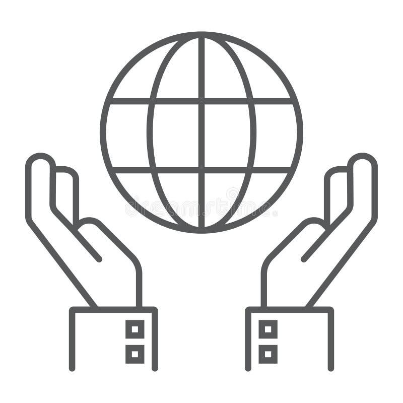 Ligne mince icône de conservation de biosphère illustration de vecteur