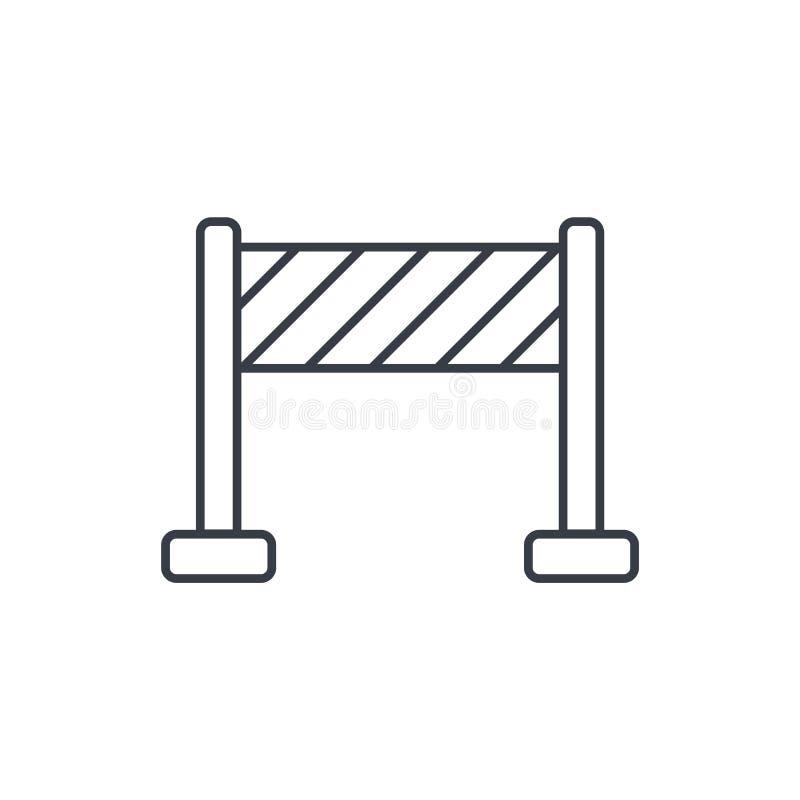 Ligne mince icône de construction de barrière Symbole linéaire de vecteur illustration libre de droits