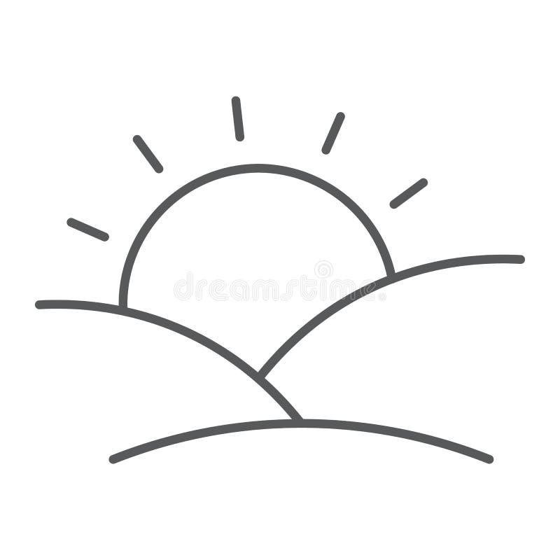 Ligne mince icône de coucher du soleil, soleil et lumière du soleil, signe d'aube, graphiques de vecteur, un modèle linéaire sur  illustration libre de droits