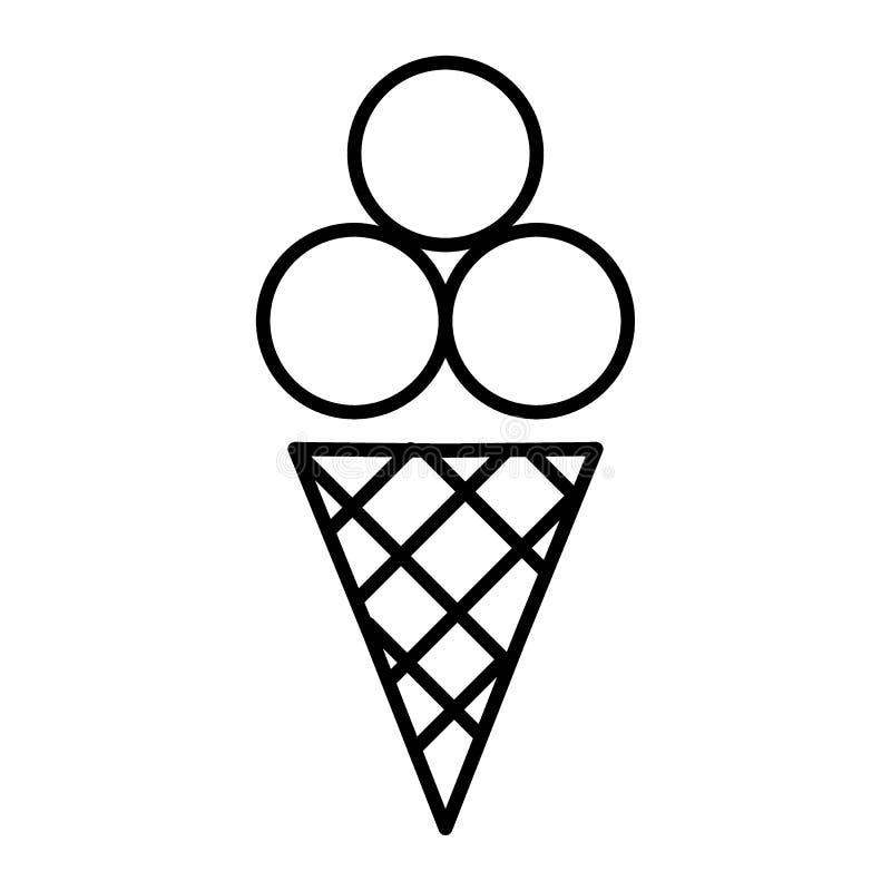 Ligne mince icône de crème glacée  Illustration de vecteur de bonbons d'isolement sur le blanc Conception de style d'ensemble de  illustration de vecteur