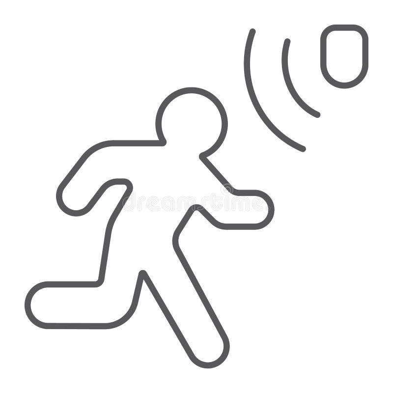 Ligne mince icône de détection de mouvement, sécurité et détecteur, signe de marche d'homme, graphiques de vecteur, un modèle lin illustration stock