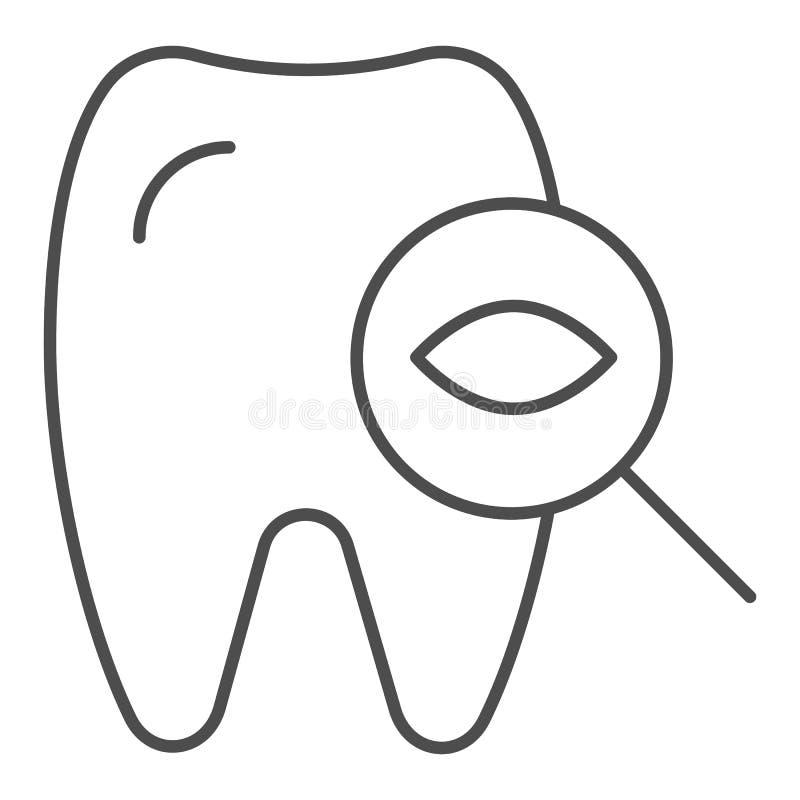 Ligne mince icône de dent d'examen dentaire Illustration dentaire de vecteur de contrôle d'isolement sur le blanc La dent examine illustration stock