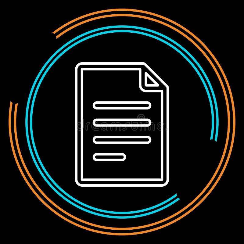 Ligne mince icône de document simple de vecteur illustration stock