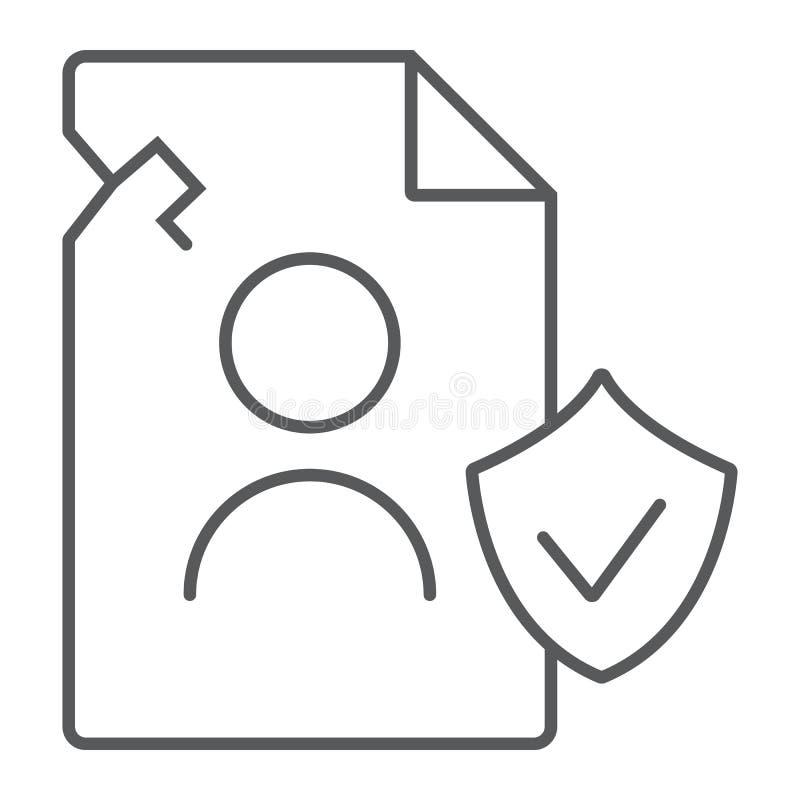 Ligne mince icône de données de personall d'infraction, privée et se protéger, signe d'infraction d'intimité, graphiques de  illustration stock