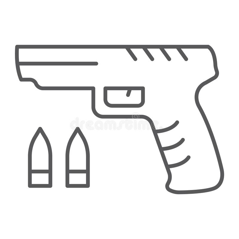 Ligne mince icône de jeu de tireur, jeu et jeu, signe d'arme à feu, graphiques de vecteur, un modèle linéaire sur un fond blanc illustration libre de droits