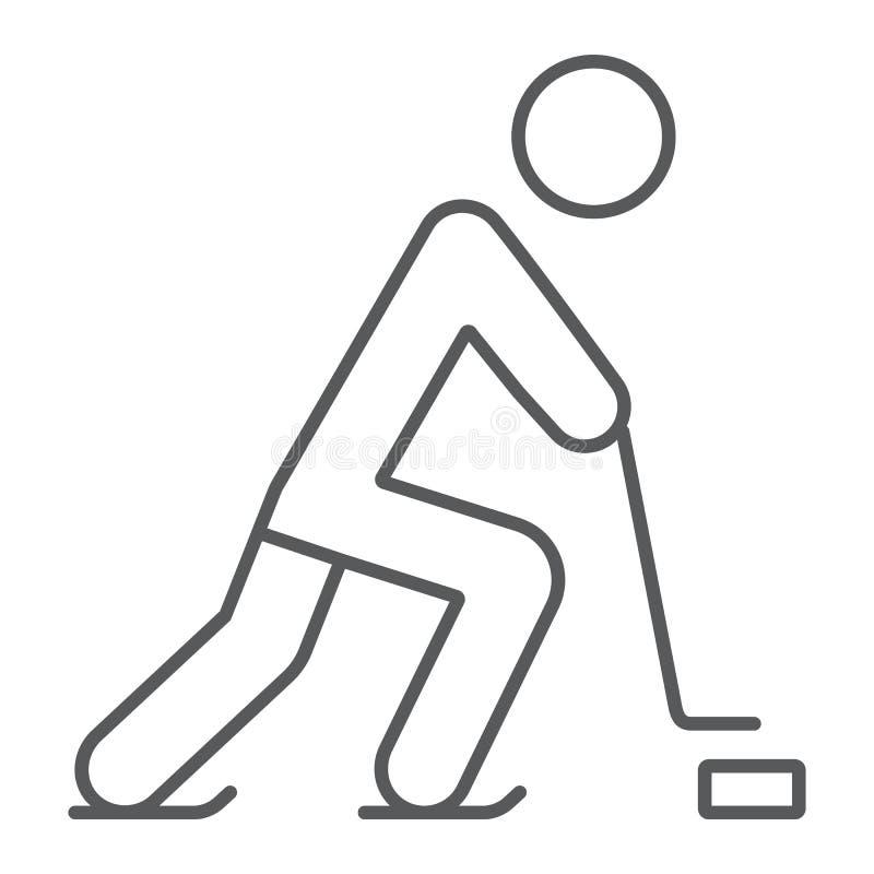 Ligne mince icône de joueur de hockey, sport et patin, signe de hockey sur glace, graphiques de vecteur, un modèle linéaire sur u illustration de vecteur