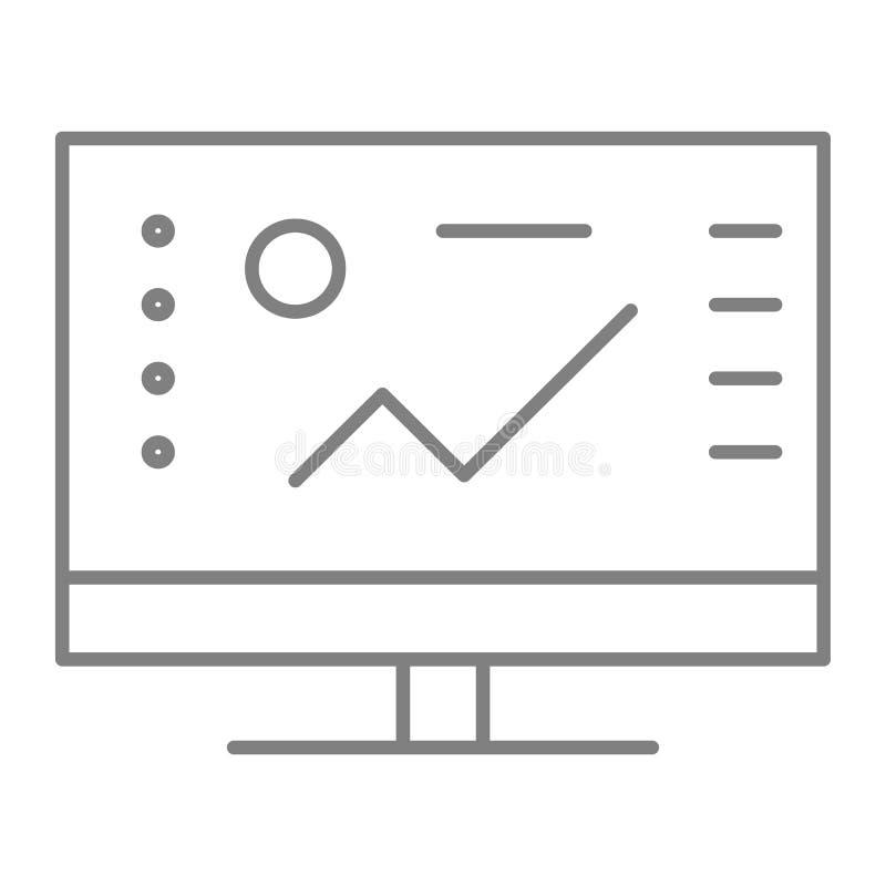 Ligne mince icône de logiciel Illustration de vecteur d'ordinateur d'isolement sur le blanc Conception de style d'ensemble de gra illustration de vecteur
