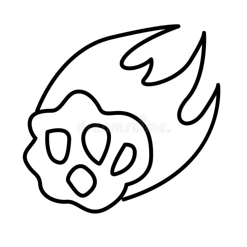 Ligne mince icône de météorite de flamme Illustration en forme d'étoile de vecteur d'isolement sur le blanc Conception de style d illustration stock