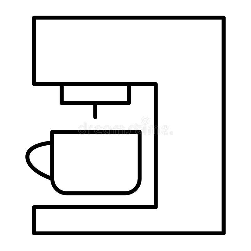 Ligne mince icône de machine de café Illustration de vecteur de fabricant de café d'isolement sur le blanc Conception de style d' illustration libre de droits