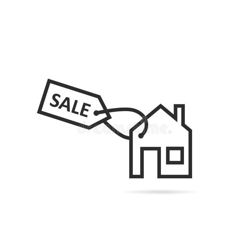 Ligne mince icône de maison de noir à vendre ou le loyer illustration stock