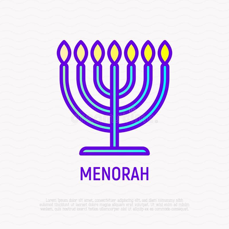 Ligne mince icône de Menorah Illustration moderne de chandelier illustration de vecteur
