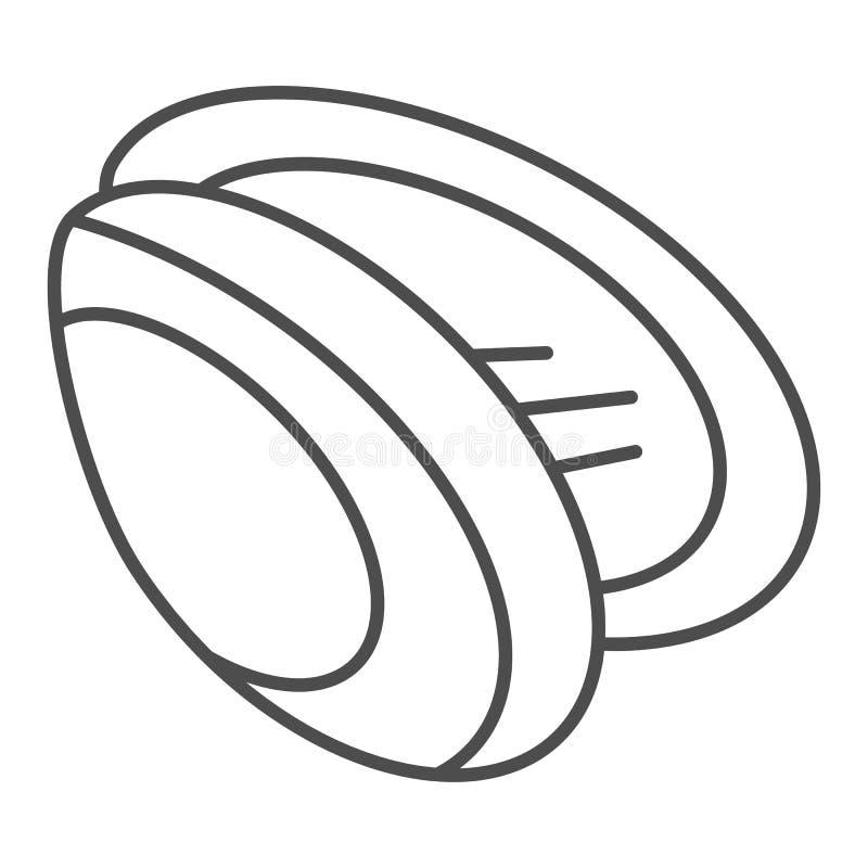 Ligne mince icône de moule Illustration de vecteur de Shell d'isolement sur le blanc Conception de style d'ensemble de fruits de  illustration stock
