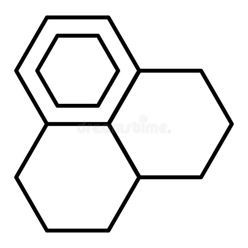 Ligne mince icône de nid d'abeilles Illustration de vecteur de cellules de miel d'isolement sur le blanc Conception de style d'en illustration de vecteur