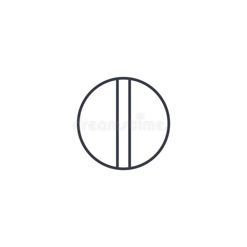 Ligne mince icône de pilule blanche ronde Symbole linéaire de vecteur illustration libre de droits