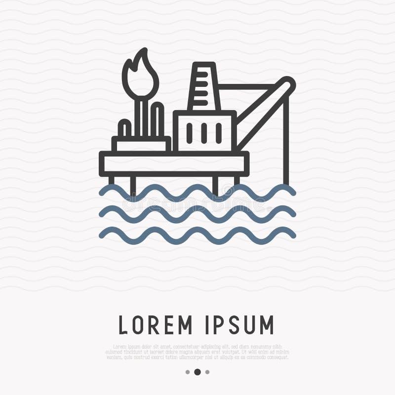 Ligne mince icône de plate-forme productrice de pétrole illustration stock